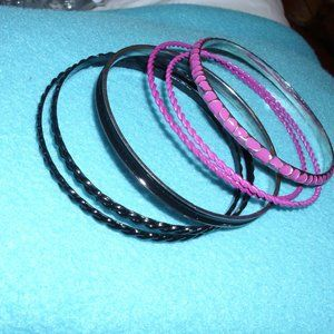 6 raspberry and black bracelets